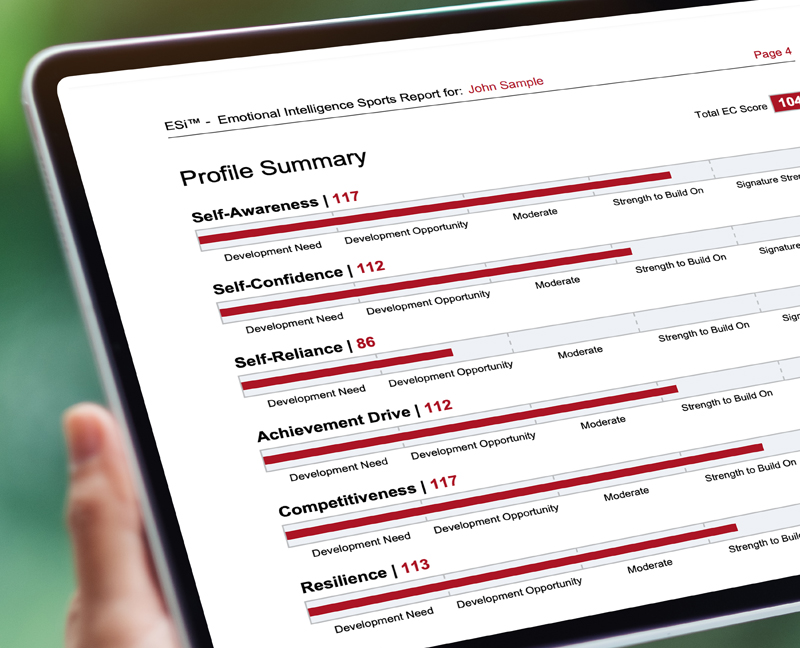Emotional Intelligence Sports Report Profile Summary for John Sample on a Tablet